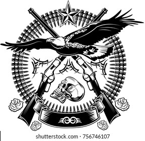 Eagle and guns. Revolver and rifle