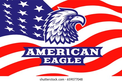 Eagle head logo -  illustration, emblem design on american flag background