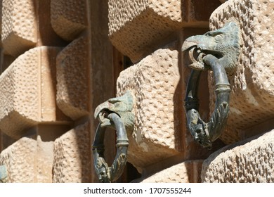 Eagle head and  ring on palace wall in the Alhambra Palace, Grenada, Spain