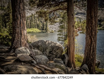 Eagle Lake in the Sierra Nevada Mountains A serene mountain lake with pine tree trunks and large granite rocks  in the foreground.