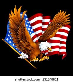 eagle and national flag,