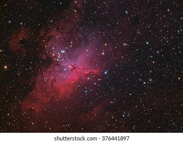 Eagle Nebula M16 in Serpens taken with CCD camera through medium field telescope