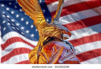 Eagle on a background of the American flag