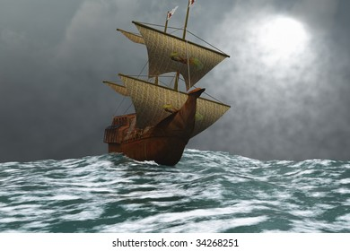 THE EAGLE - A sailing vessel navigates the ocean waves in stormy weather.