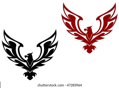 Eagle symbol isolated on white for design. Vector version is also available