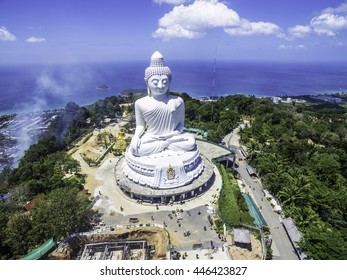 Eagle view on Phuket Big Buddha shot with a drone.