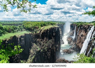 Eagles eye view on the Victoria Falls. These great waterfalls form the natural border between Zambia and Zimbabwe