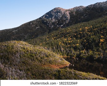 Eagles Lakes and the ridge leading to the top of Mount Lafayette in the White Mountains of New Hampshire. This was taken at the AMC Greenleaf hut at the end of Old Bridle Path.