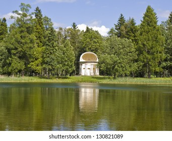 Eagle's pavilion in park near palace of king Pavel I in town Gatchina in surroundings of St. Petersburg, Russia.