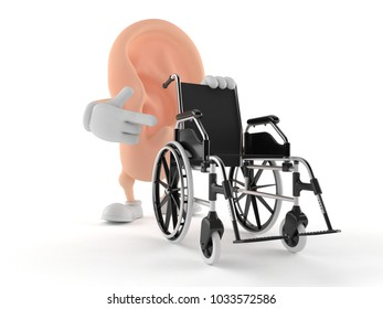Ear character with wheelchair isolated on white background. 3d illustration