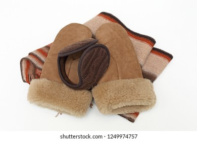Ear Muffs Leather Mittens and Shawl Warm Winter Accessories Clothing