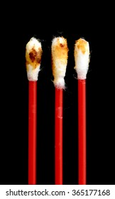 ear wax, an isolated cotton wool buds