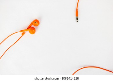 Earbuds on a white background with lots of room for products and text!