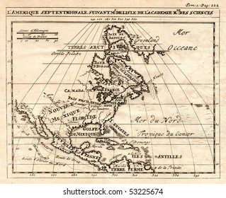 An early 1712 antique map of North America showing Canada, Mexico and the British Colonies prior the Revolution