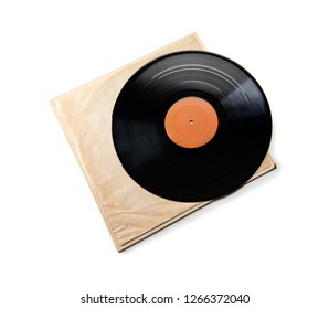 Early 1970s  LP record or analog disc (33 1/3 RPM / 12 inch),  on white inner sleeve. Isolated on white.
