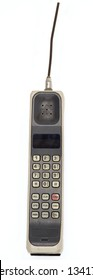 Early 1990's Style Mobile Phone. One of the first models ever made. Isolated on white background.