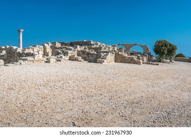 Early 5th century Christian Basilica and Roman ruins at Kourion, on the south coast of the Mediterranean island of Cyprus.