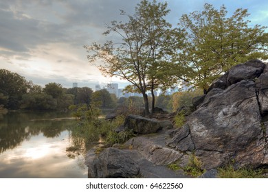 Early autumn in Central Park by the lake