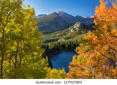 Early Autumn color above Bear Lake with Longs Peak in the background in in Rocky Mountain National Park, Estes Park, Colorado.