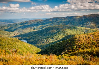 Early autumn view of the Charlottesville Reservoir from Moormans River Overlook, Shenandoah National Park, Virginia.