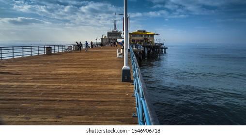 early cloudy morning Los Angeles Santa Monica wooden pier Pacific ocean