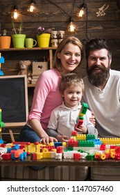 Early education concept. Happy family play with child, early education. Early education and family support. Early education and child development.