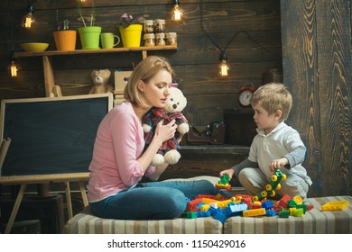 Early education concept. Mother play with child, early education. Early childhood education. Early education and child development. Teach and care.