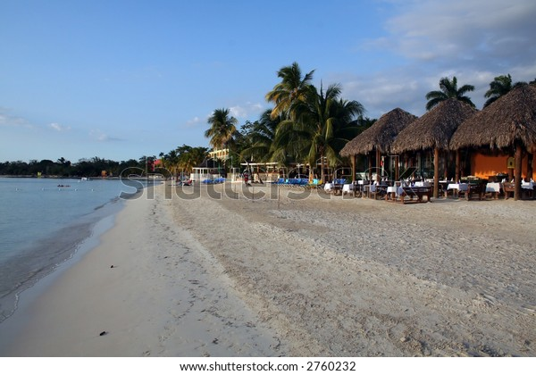 Early evening on the beach at a Jamaican Resort