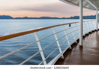 Early evening stern view of ocean from cruise ship verandah.