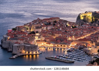 Early evening view of the historic center of Dubrovnik, Croatia