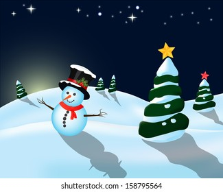 Early evening winter landscape and snowman with hat and stars