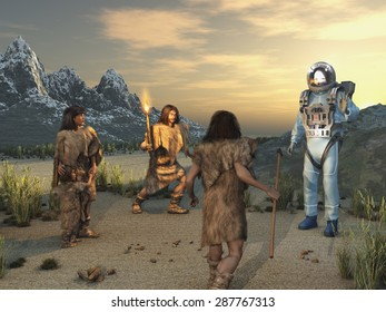 Early humans and an alien visitor