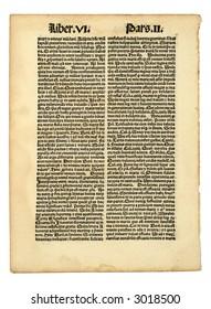Early Latin printed page, incunabula, dated 1483.