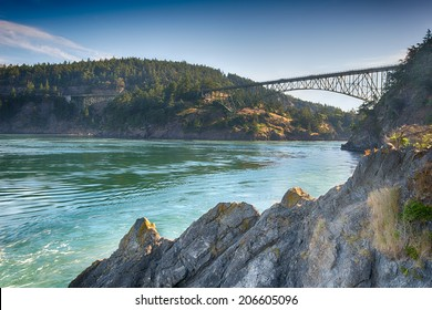 Early Light at Deception Pass Bridge, Deception Pass State Park, WA