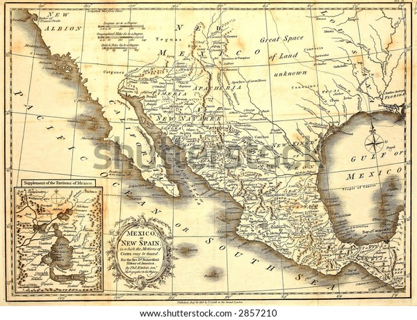 Early Map Mexico Printed London 1821 Stock Photo (Edit Now ...