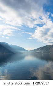 Early misty morning on the Kotor bay with sea and mountain views Montenegro