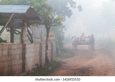 Early misty morning a village in the area between Kalaw and Inle, Myanmar