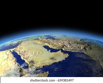 Early morning above Arab Peninsula from Earth's orbit in space. 3D illustration with detailed planet surface. Elements of this image furnished by NASA.