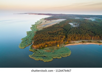 Early morning aerial view of  aeroplane landing strip covered with fog and surrounded by forests on Curonian spit near Nida, Lithuania