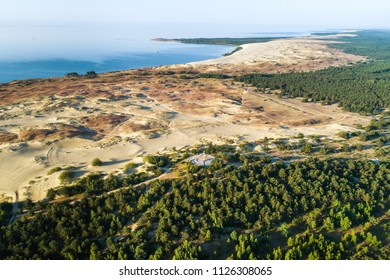Early morning aerial view with  bay and dunes in Curonian spit near Nida, Lithuania