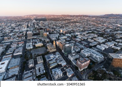 Early morning aerial view down Wilshire Blvd in the Koreatown area of Los Angeles California.