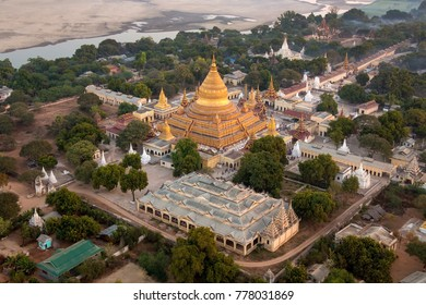 An early morning aerial view of the Shwezigon Buddhist Temple in the ancient city of Bagan in Myanmar (Burma).