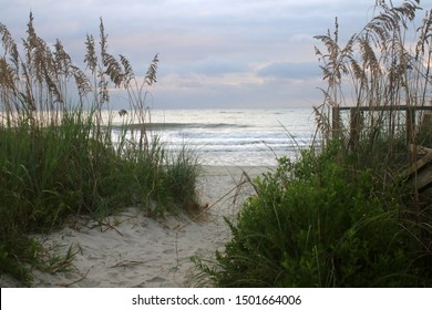 Early morning at the Atlantic beach. Scenic marine landscape with way to the beach through sand dunes and calm ocean during cloudy sunrise at Pawleys Island, South Carolina, USA.
