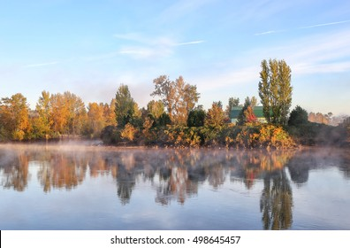 Early morning autumn mist rising off the Snohomish river