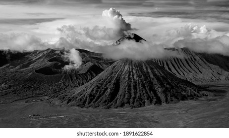 Early morning black and white landscape of crater Bromo , Java island, Indonesia