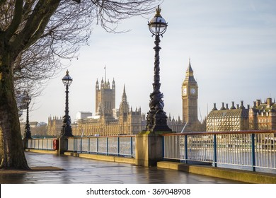 Early in the morning in central London with Big Ben and Houses of Parliament - London, UK