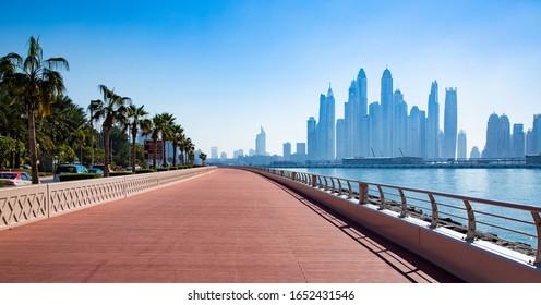 Early Morning Deep Blue Sea view from Palm Jumeirah Marina Beach west Dubai, UAE  on 25 January, 2020