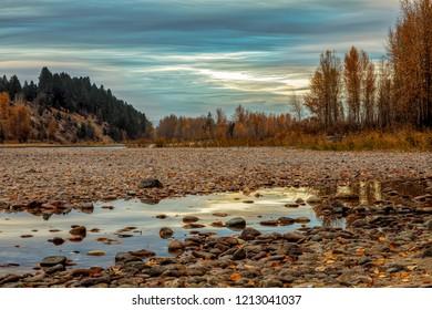 Early morning fall colors along Flathead River, Montana