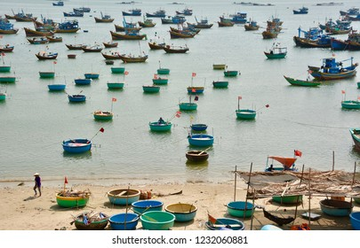 Early Morning fishing in nutshell boats in Phan Thiet, Vietnam