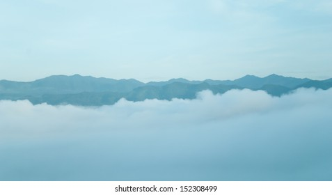 Early Morning Fog in the Mountains - Distant mountain range